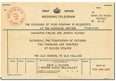 telegram style wedding invitations - Google Search