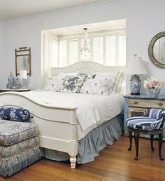 Cute country blue bedroom love this so much Dream Bedroom, Home Decor Bedroom, Bedroom Ideas, Blue Wall Colors, White Coverlet, Beautiful Bedrooms, Simple Bedrooms, Blue Bedrooms, Guest Bedrooms