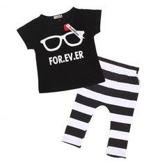 Summer Cute Glasses Kids Clothes Sets Short Sleeve T-shirt Stripe Pants Clothing Set Newborn Sport Suits Baby Boy Clothes