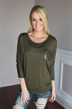 Glam Pocket Top - Olive – The Pulse Boutique