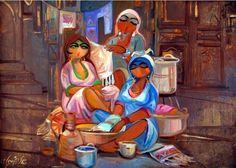 Shakir Al-Alousi (Iraqi artist) Arabian Art, Collage Artwork, Turkish Art, Bunny Art, Paintings I Love, Impressionism Art, Egyptian Art, Whimsical Art, Art Lessons