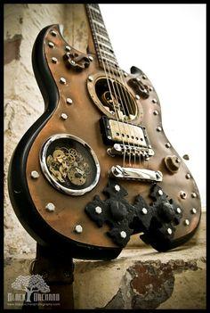 custom guitar, kinda looks like steampunk.
