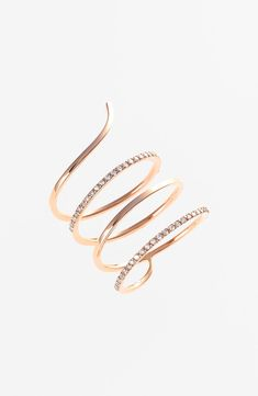 Women's kismet by milka 'Lumiere' Diamond Coil Ring from Nordstrom. Saved to Jewelry Candyland. Diamond Gemstone, Diamond Jewelry, Jewelry Rings, Jewelry Accessories, Fine Jewelry, Jewelry Design, Diamond Bracelets, Accesorios Casual, Long Pearl Necklaces
