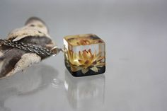 #Pendant Cube #Immortelle Yellow immortelle #ECO #resin Real