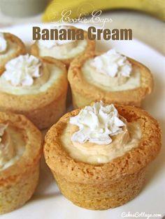 Banana Cream Cookie Cups - Cakescottage