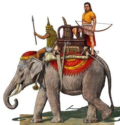 The King of Champa on his elephant.