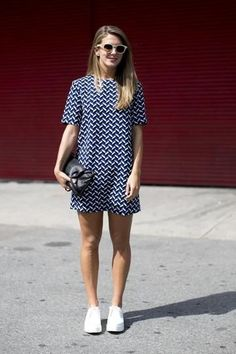 Spring Style // Punctuation mark-printed dress with white sneakers.