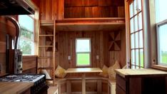 Under the smaller loft you could have a table seating area that could convert into a full size bed for guests. #22