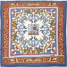 "Hermes Blue Silk ""Early America"" Designer Scarf - $249.99"