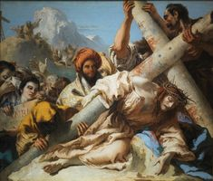 'Tiepolo GianDomenico Jesus Falls On The Path 1772 ' Oil Painting, 16 X 18 Inch / 41 X 47 Cm ,printed On Polyster Canvas ,this Art Decorative Canvas Prints Is Perfectly Suitalbe For Game Room Decoration And Home Decoration And Gifts Religious Paintings, Religious Art, Catholic Art, Roman Catholic, Rococo, La Passion Du Christ, Jesus Christ Images, Stock Art, Jesus Cristo