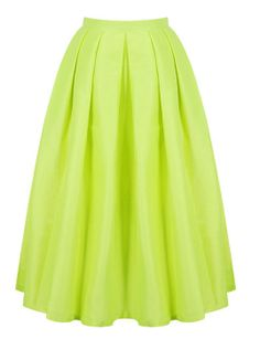 2014 Summer/Spring Hot Sale Fashion Women's Trendy Designer Brand Casual Stylish Perfect Bright Green Flare Pleated Long Skirt $29.50
