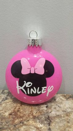 Disney ornament Minnie mouse ornament Minnie Mouse inspired – T-Shirts & Sweaters Mickey Mouse Ornaments, Minnie Mouse Christmas, Disney Christmas Ornaments, Painted Christmas Ornaments, Personalized Christmas Ornaments, Christmas Bulbs, Black Christmas Decorations, Creations, Diys