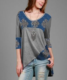 Loving this Gray & Blue Damask Asymmetrical-Hem Tunic - Plus on #zulily! #zulilyfinds