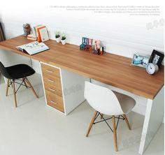 Double long table desk computer desk home desktop computer desk minimalist modern desk with drawers IKEA Long Computer Desk, Desktop Computer Desk, Long Desk, Diy Desktop, Computer Build, Desks For Small Spaces, Small Space Office, Double Desk, Ikea Desk
