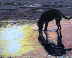 """Met palet mes kan ook """"egaal"""" gewerkt worden. Prachtig! Deze hond aan het strand. De kunstenaar is mij niet bekend. Wie het wel weet? graag reactie .."""