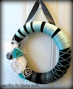Retro Black and Teal Polka Dot Yarn Wreath.