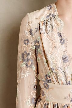 Tristana Embroidered Silk Dress - anthropologie.com
