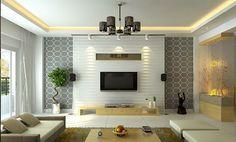Painel de televisão branca e com papel de parede