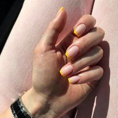 36 Trendy Yelleow Nails New Trend are perfect for this summer 2019 nails; - 36 Trendy Yelleow Nails New Trend are perfect for this summer 2019 nails; Nails Gelish, Shellac Nail Colors, Gel Nails, Acrylic Nails, Nail Nail, White Summer Nails, Summer Nails Neon, Nails Yellow, Pink Nails