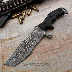 John's Custom Handmade Matrix Pattern Damascus Steel Tracker Knife Large Model