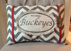 Ohio State Buckeyes Pillow 12 X 18 by twotexascowgirls on Etsy, $28.00