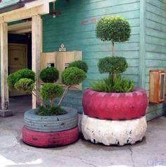Những mẫu thiết kế vườn hoa đẹp bằng vỏ bánh xe ô tô
