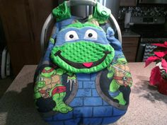 Made To Order NinjaTurtle Fitted Fleece Car Seat Canopy With Peek-A--Boo Opening Can Do Other Colors And Fabric & Made to order Personalized Fox Fitted Car Seat Canopy With A Peek ...
