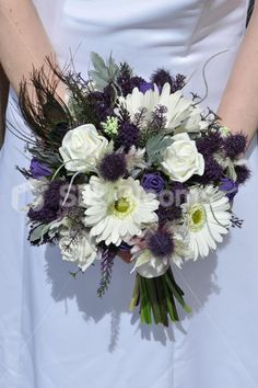 Real Touch White Gerbera & Purple Thistle Wedding Bridal Bouquet - Silk Flowers #artificialflowers #wedding #weddingflowers #bouquet #flowers #bridalbouquet #silkflowers #gerberas #purple #feathers #peacock #roses #thistles