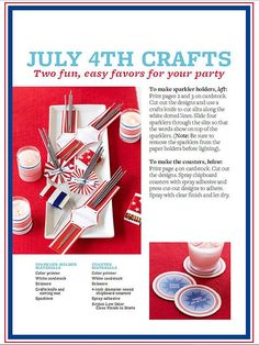 Free of July Party Favors These adorable of July party favors will have your guests thanking you for an incredible Independence Day get-together. We've got patriotic party favors, instructions, and patterns for a of July to remember. July 4th Holiday, 4th Of July Celebration, 4th Of July Party, Fourth Of July, Holiday Fun, Holiday Ideas, Fireworks Craft For Kids, Fireworks Art, American Flag Crafts