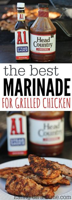 Best BBQ Chicken Marinade Recipe - 2 ingredients - Eating on a Dime Looking for an easy grilled chicken marinade? This is the Best BBQ Chicken Marinade Recipe that you can make. With only 2 ingredients it is the best marinade for grilled chicken. Best Bbq Chicken Marinade, Bbq Marinade, Grilled Bbq Chicken, Grilled Meat, Chicken Dips, Chipotle Chicken, Bbq Chicken On Grill, Grilled Chicken Marinades, Grilled Chicken Recipes