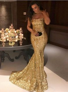 Mermaid Strapless Long Corset Sequin Prom Dress 2018 Gold Evening Dresses  For Wedding Party Gold Prom 96ff878c521f