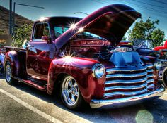 "Burgundy Beauty  [I LOVE the paint job! That truck wasn't so pretty when it was new. It was a ""work vehicle"". Now it's a toy. Great job. ~sdh]"