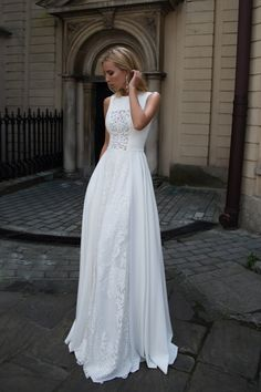 A Line Chiffon Wedding Dresses Crew Neck Lace Bridal Gowns - Hochzeitskleid Lace Bridal, Bridal Gowns, Wedding Gowns, Lace Wedding, Wedding White, Wedding Beach, Wedding Vintage, Party Wedding, Mermaid Wedding