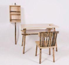 Sticks & Secrets: 'Unhidden' Wood Desk, Chair & Shelf Set