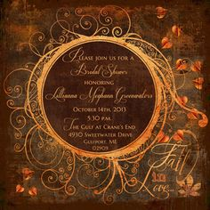 fall in love bridal shower invitation autumn styled