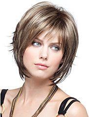 neue Frauendame kurze synthetische Haarperücken Pixie glattes Haar Perücke braun mix