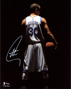 "Stephen Curry Golden State Warriors Autographed 8"" x 10"" Dark Turned Around Photograph"