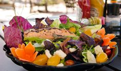 Dig into this light and refreshing Salmon Salad from Cabana's Beach Bar and Grille on Fort Myers Beach