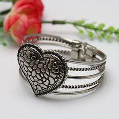 Creative Elegant Romantic Heart Designed Five-Ring Bracelet Bangle For Trendy Women
