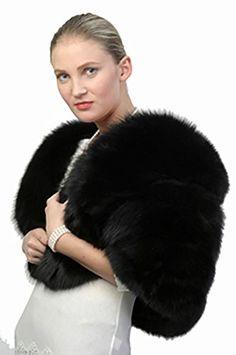 Madison Avenue Mall Ladies Fur Cape - Black Fox Fur Cape at Amazon Women's Coats Shop