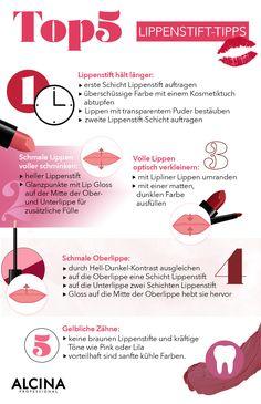 Unsere Top 5 Lippenstift-Tipps und Tricks: Lippen schmaler schminken, die Zähner heller wirken lassen oder den Lippenstift haltbarer machen: All das bekommt ihr bei Alcina.