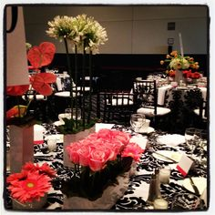 Black, white and coral - stunning   Event Decor Ideas   Pinterest ...