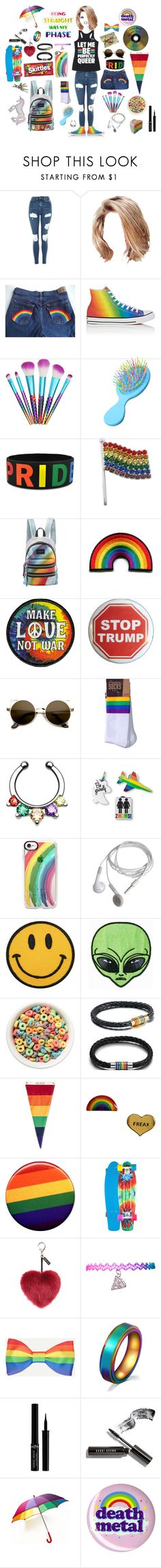 """""""Let Me Be Perfectly Queer"""" by music-is-harmony ❤ liked on Polyvore featuring Topshop, Converse, Study, Marc Jacobs, Trump Home, INDIE HAIR, Casetify, Mark & Graham, Me & Zena and Penny"""
