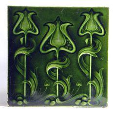 Antique Art Nouveau Ceramic Tile 1905 Original Reclaimed