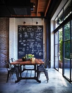 love. big chalk board-looking print on the wall. and the wood/metal industrial table and chairs.