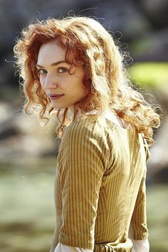 Demelza Carne played by Eleanor Tomlinson. The only daughter of an impoverished, brutal and alcoholic miner, Demelza is rescued from a life of violence by Ross who employs her as his kitchen maid. Bbc Poldark, Poldark 2015, Demelza Poldark, Poldark Series, Ross Poldark, Winston Graham Poldark, Ross And Demelza, Masterpiece Theater, Aiden Turner