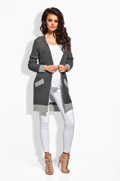 Stay warm and cozy with this relaxed cardigan that features convenient side pockets. Mode Shop, Warm Sweaters, Sweater Design, Open Cardigan, Cardigans For Women, One Piece Swimsuit, White Jeans, Swimsuits, Plus Size