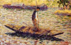 alongtimealone:  GEORGES SEURAT Riverman, 1884 - Yale University - Art Gallery, New Haven, Connecticut USA