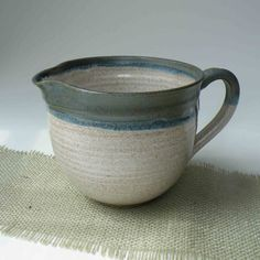 4 Cup Woodland Green, Blue and White Stoneware Batter Bowl - Food Prep - Dressing Bowl - Pitcher - Ceramic Mixing Bowl