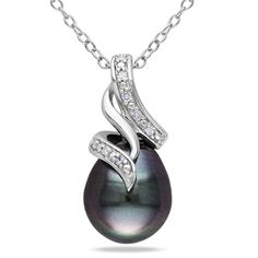 Miadora Sterling Silver Tahitian Pearl and Diamond Drop Necklace (9-9.5 mm) | Overstock™ Shopping - Top Rated Miadora Pearl Necklaces